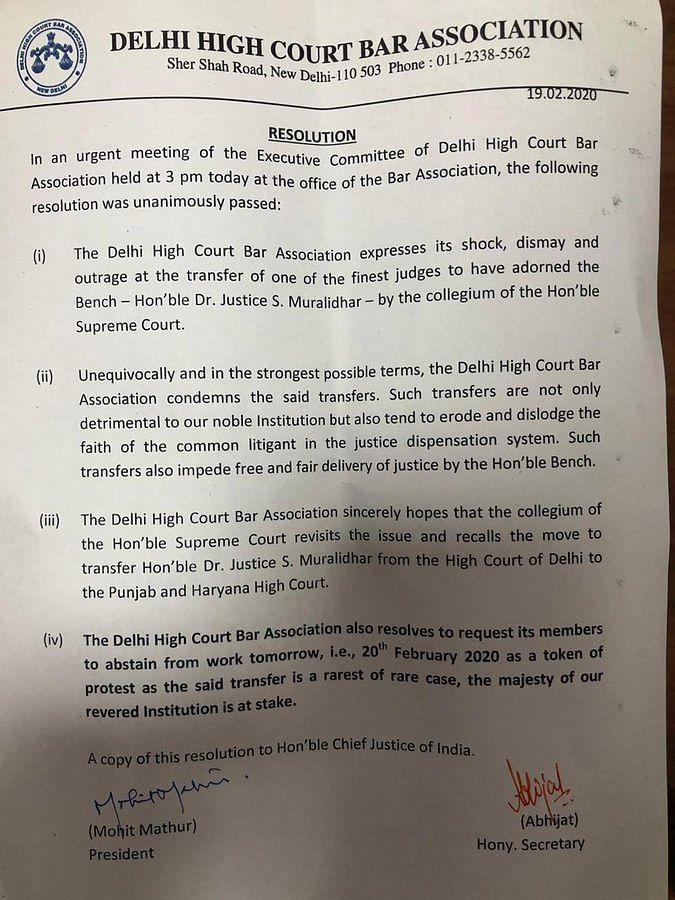 Delhi HC Bar Assn to 'Strike' Over Justice Muralidhar's Transfer