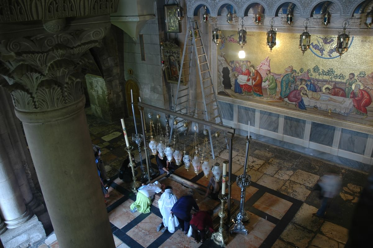 The place, now inside the Church of the Holy Sepulchre, where Jesus's body was taken off the cross and placed on a slab of stone to be readied for burial.