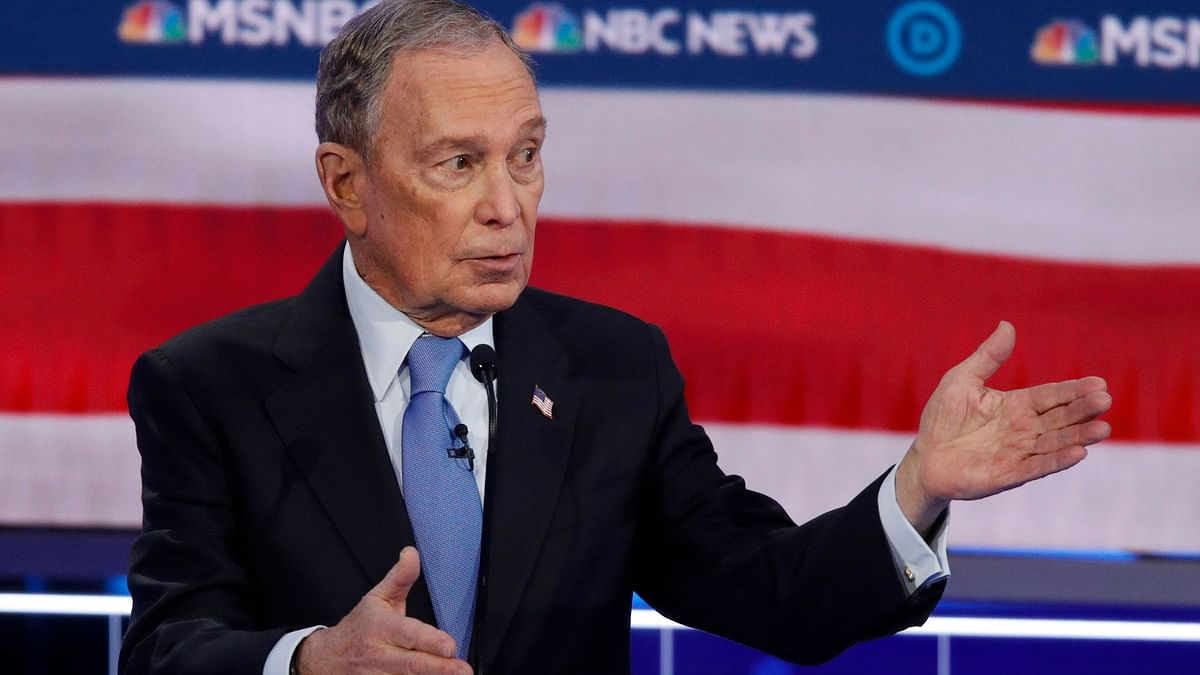 Democratic presidential candidates, former New York City Mayor Michael Bloomberg speaks during a Democratic presidential primary debate on Wednesday,19 February.