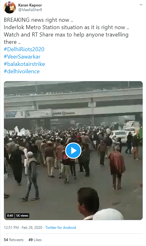 Old Video of Delhi's Inderlok Passed off as Situation 'Right Now'