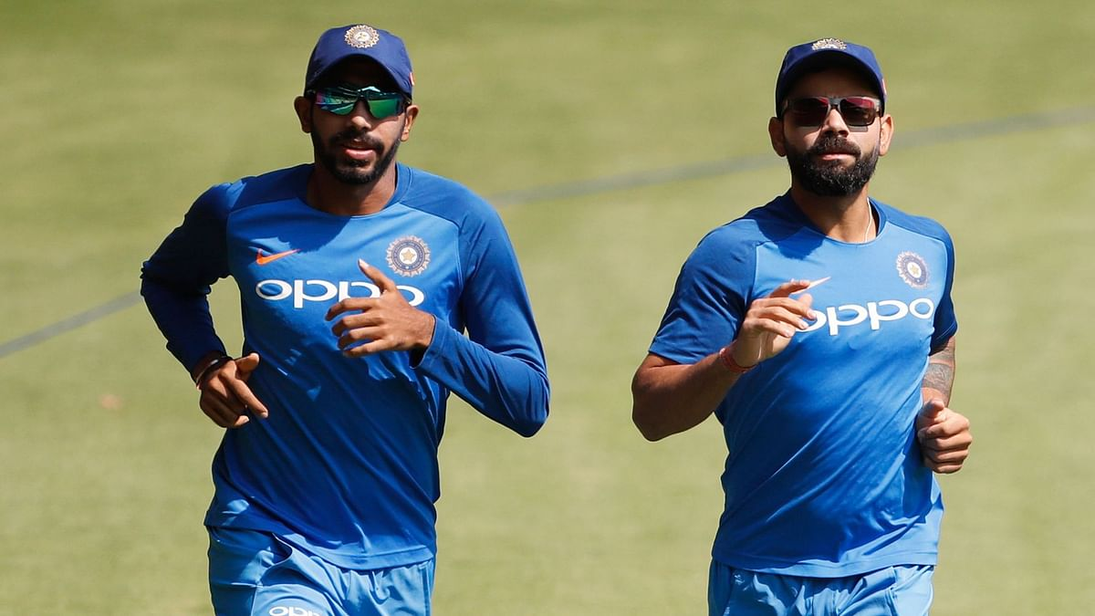 Jasprit Bumrah at a Team India training session with Virat Kohli.