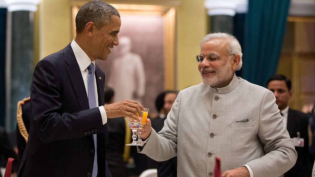 Former US President Barack Obama with Prime Minister Modi during a state dinner hosted by former President Pranab Mukherjee at Rashtrapati Bhawan in 2015.