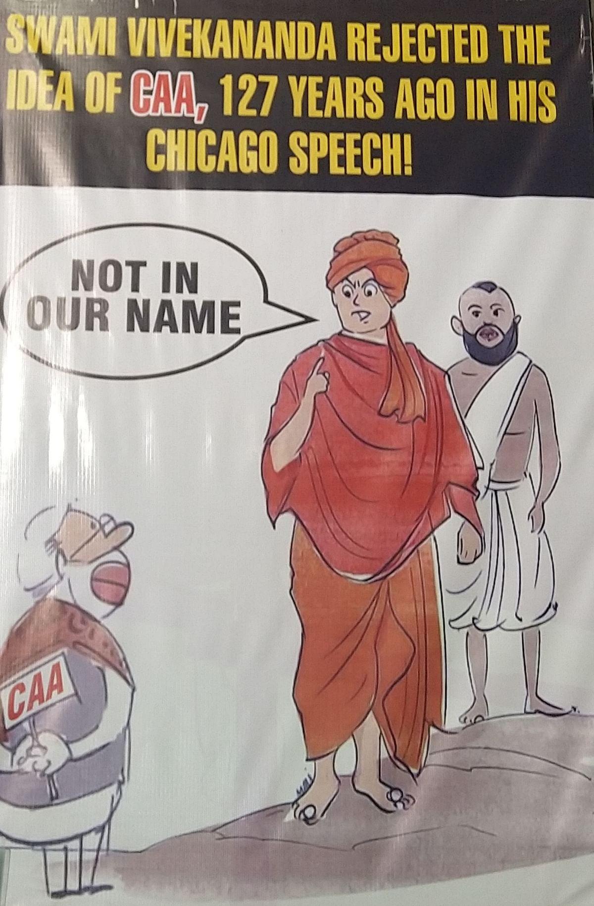 A poster at the anti-CAA protest in Park Circus Kolkata shows Swami Vivekananda and Ramakrishna Paramhans opposing Modi on CAA.
