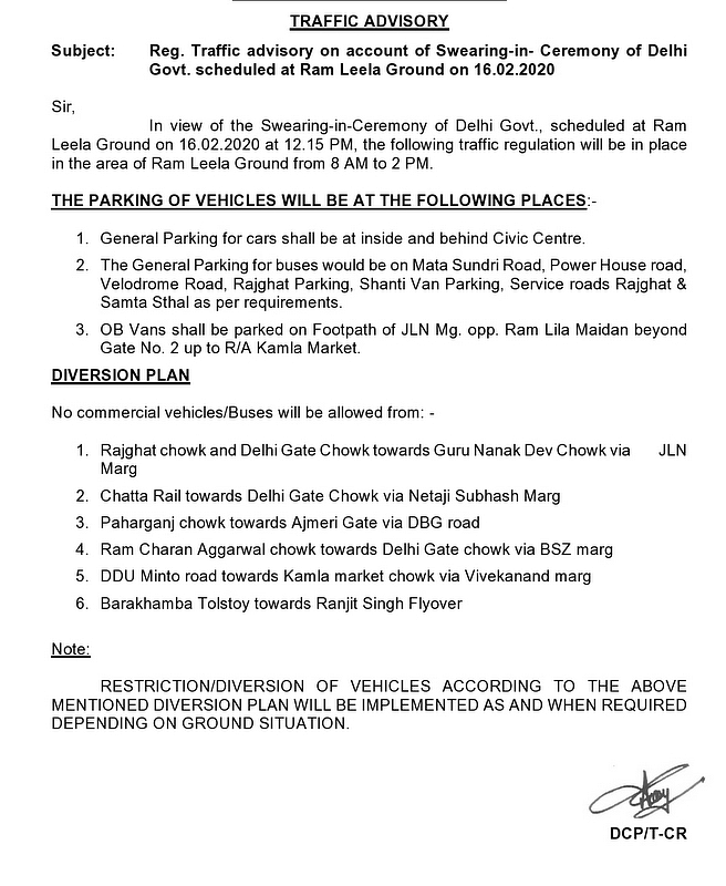 The advisory mentions restrictions and diversions in the capital on 16 February.