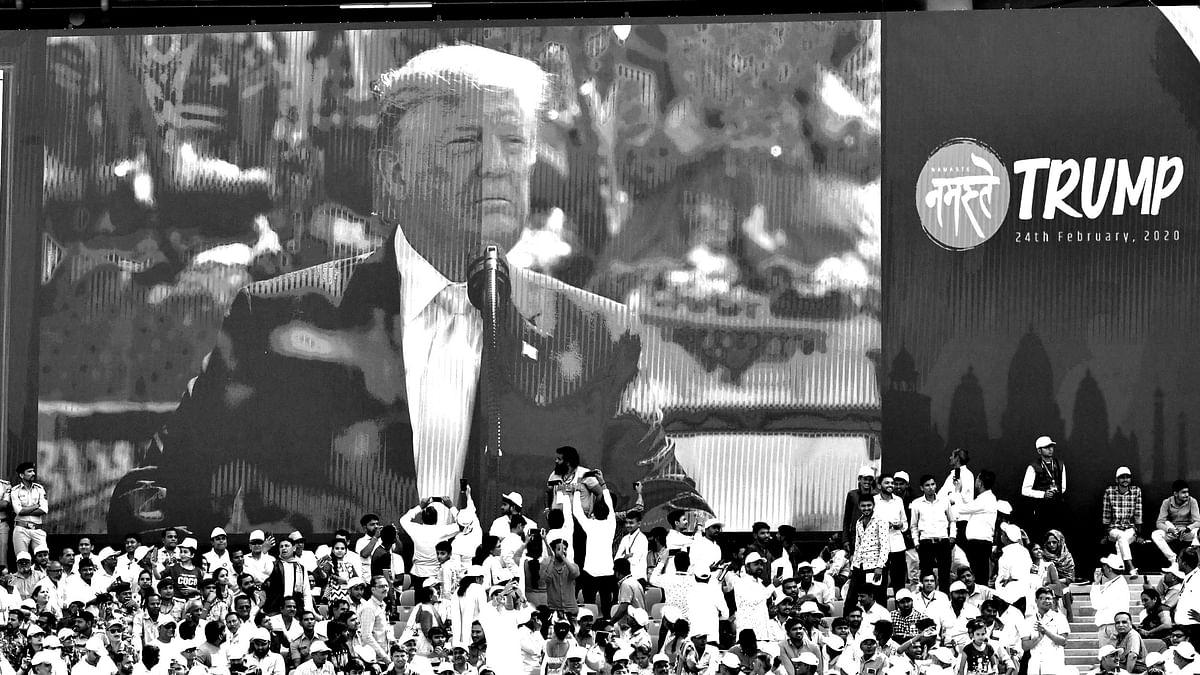 Donald Trump at the Motera stadium in Ahmedabad.