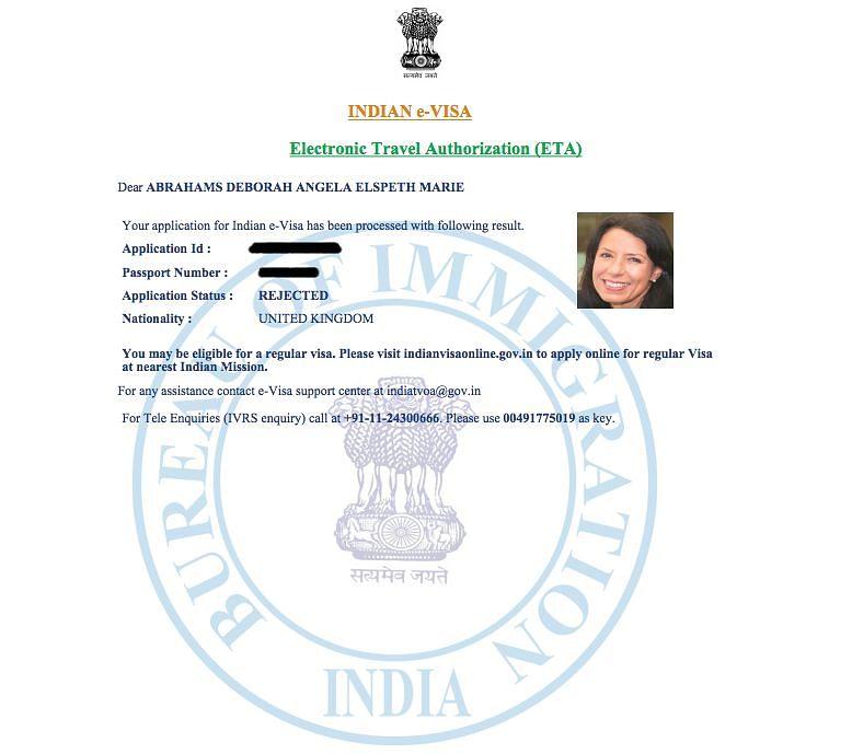 Copy of rejection of visa.