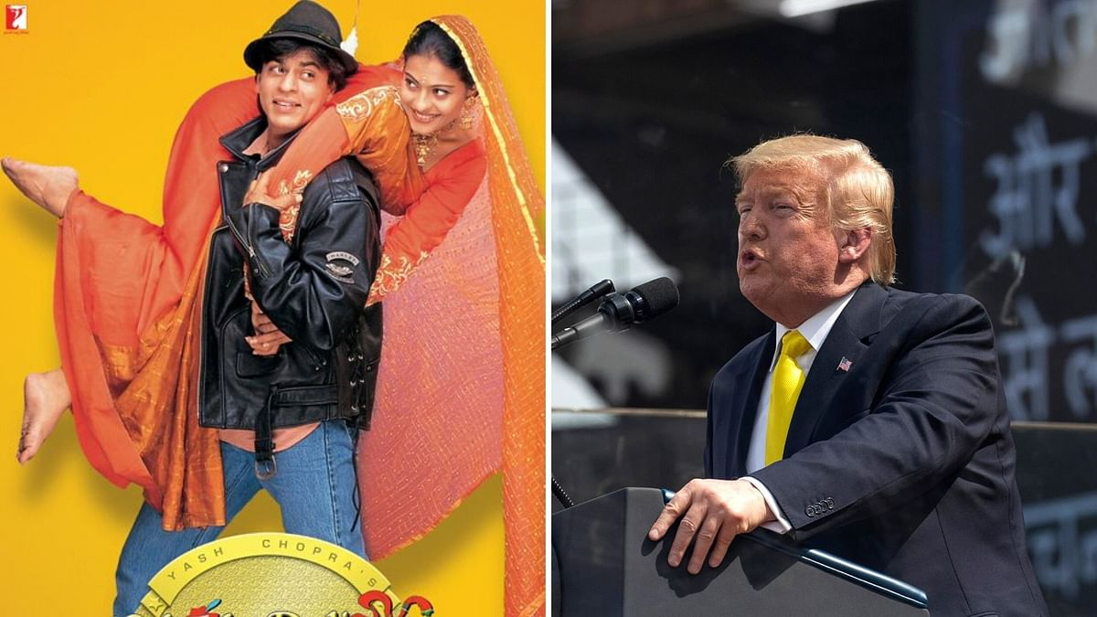 Donald Trump speaks at the 'Namaste Trump' event in Gujarat.
