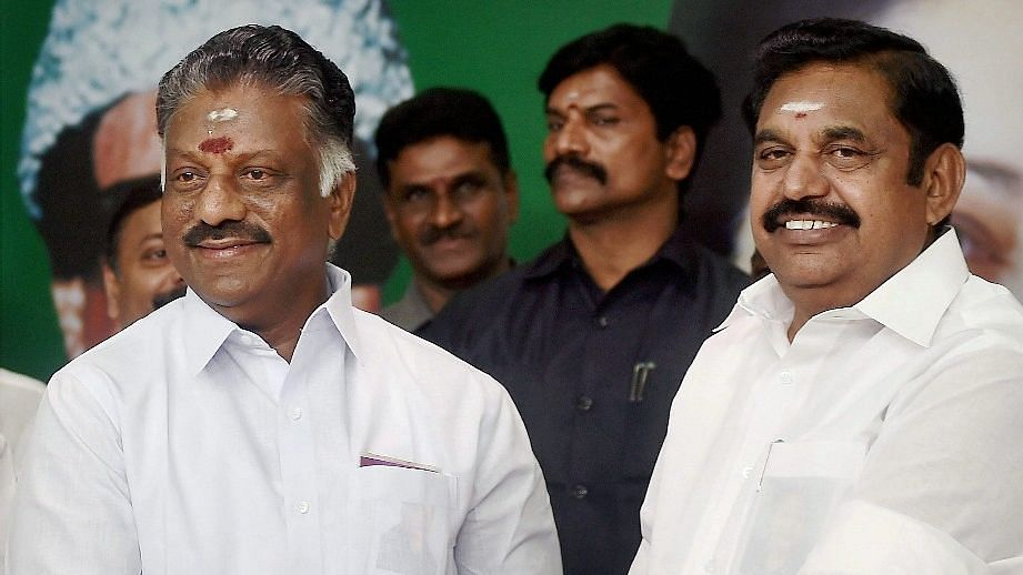 Tamil Nadu Chief Minister E Palaniswami (R) and O Panneerselvam (L).