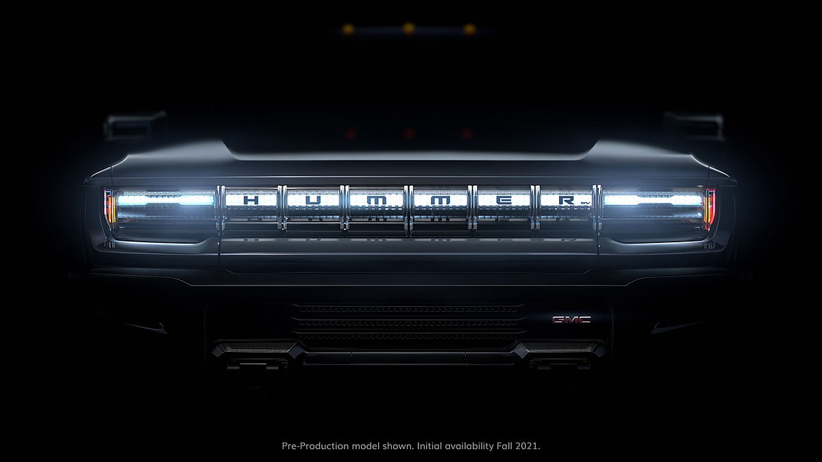 The front grille of the new Hummer EV.