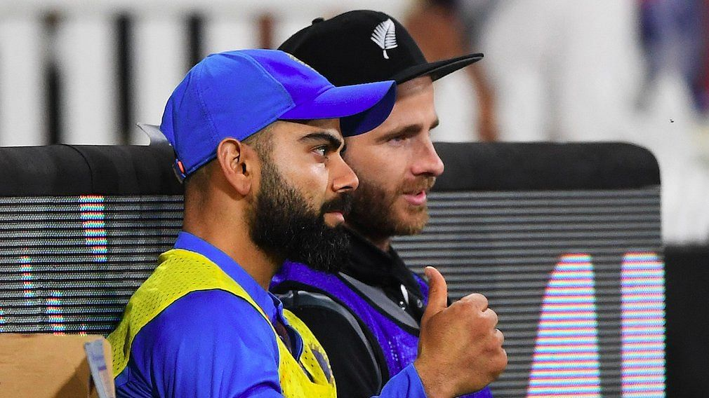Indian skipper Virat Kohli in a conversation with New Zealand captain Kane Williamson during the 5th T20I.
