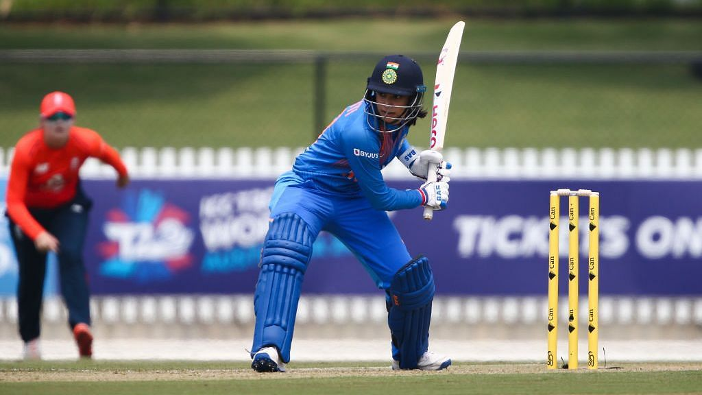 Smriti Mandhana in action during the Women's T20 World Cup.