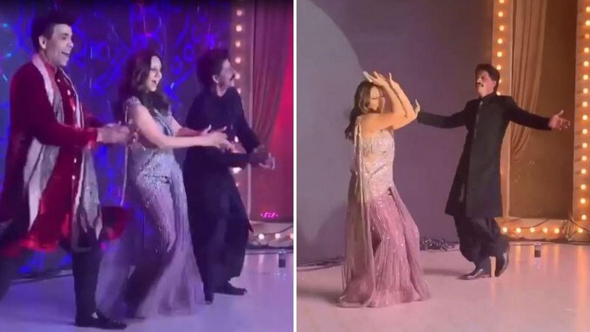 Shah Rukh Khan, Gauri Khan, Karan Johar perform to 'Kajra Re'.