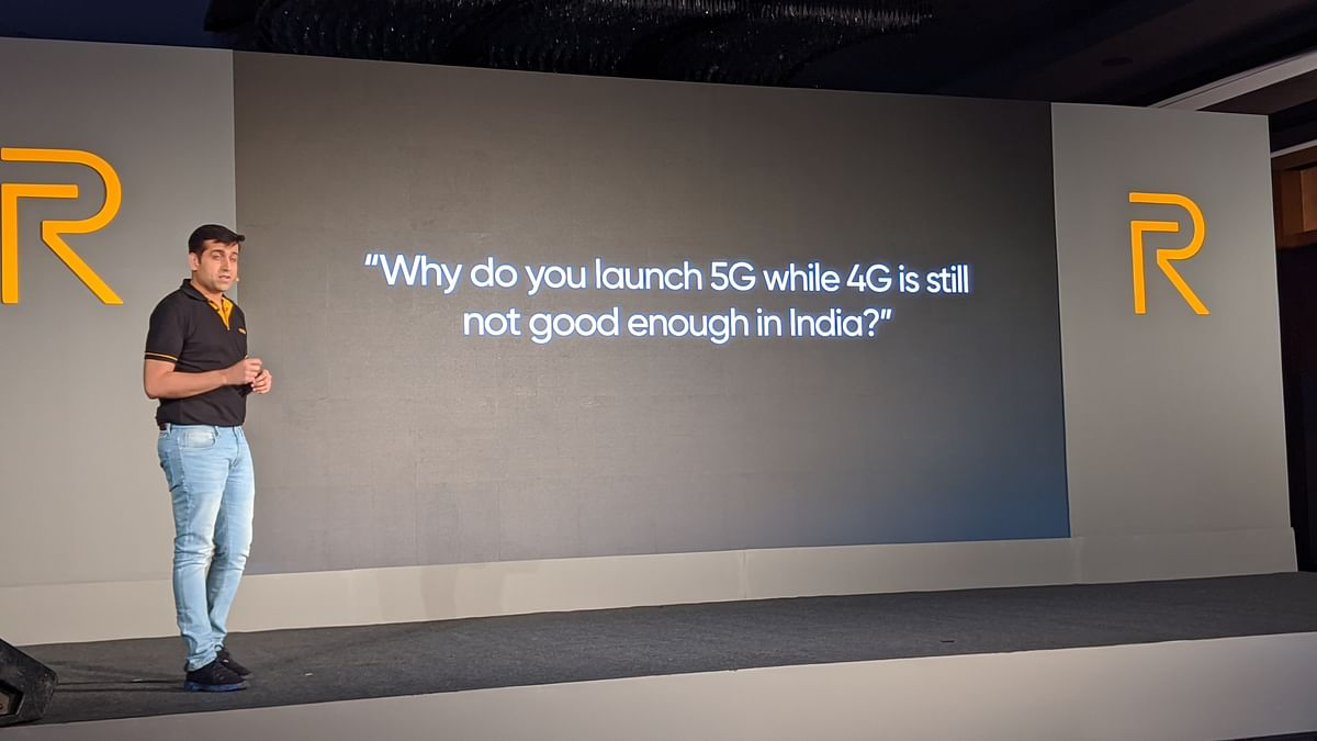 Madhav Sheth from Realme launching a 5G phone in India.