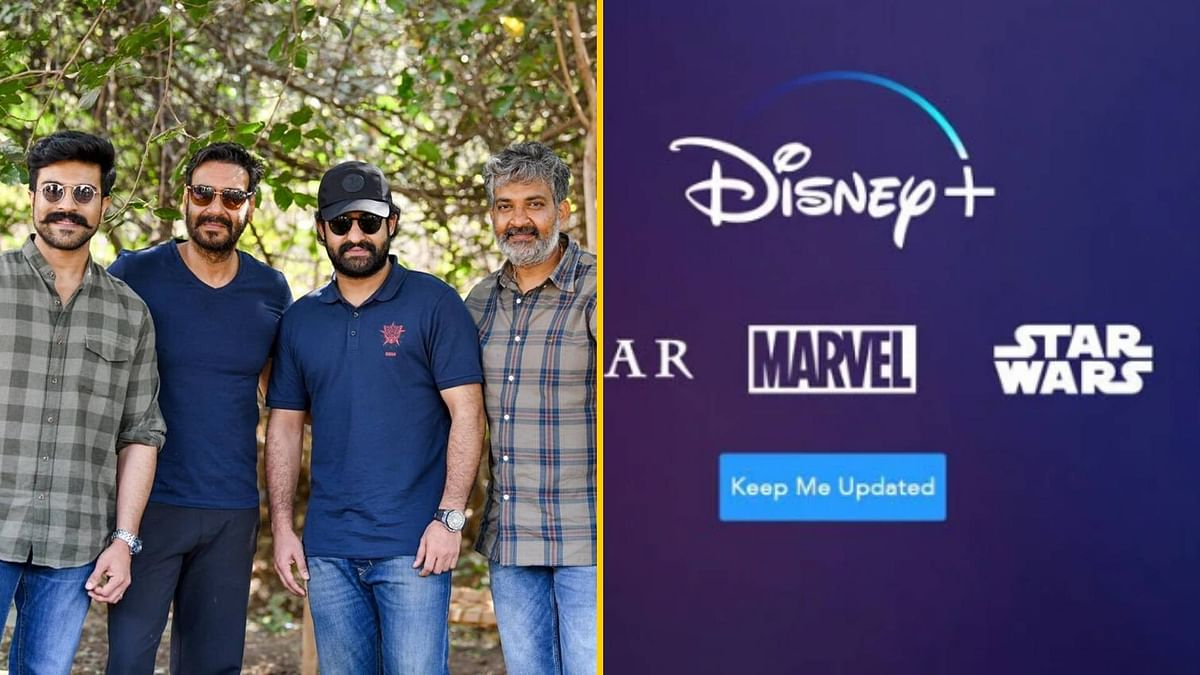 Ajay Devgn on the sets of <i>RRR</i>; Disney+ will launch in India in March.
