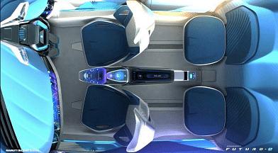 Swivel seats on the interiors of the Maruti Suzuki Futuro E concept.