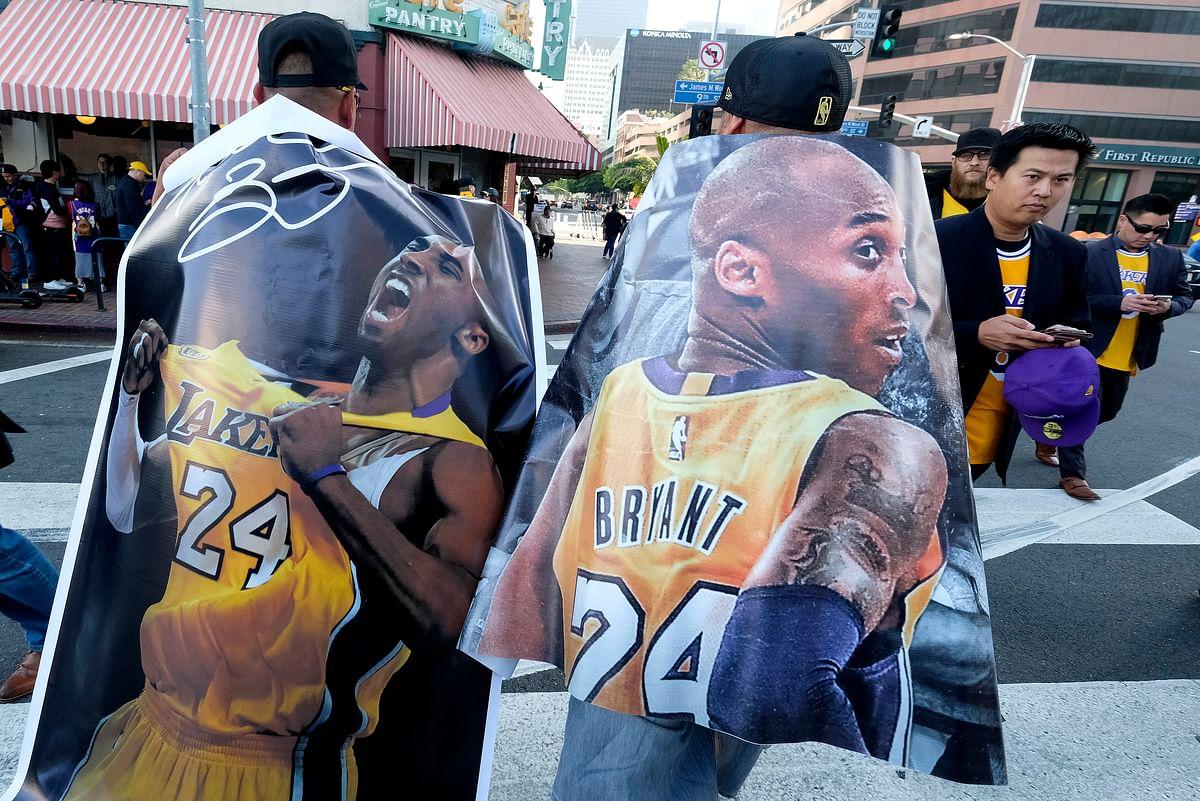 Fans outside Staples Center before the start of Kobe Bryant's Memorial Service.