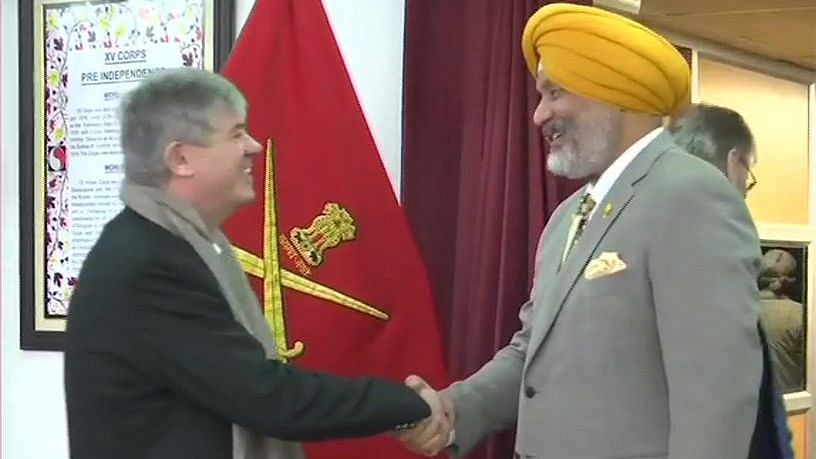 Foreign diplomat with Lt General KJS Dhillon