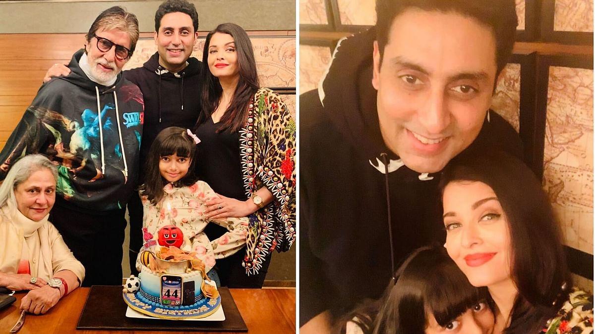 Aishwarya Rai shares photos of Abhishek Bachchan's birthday party.