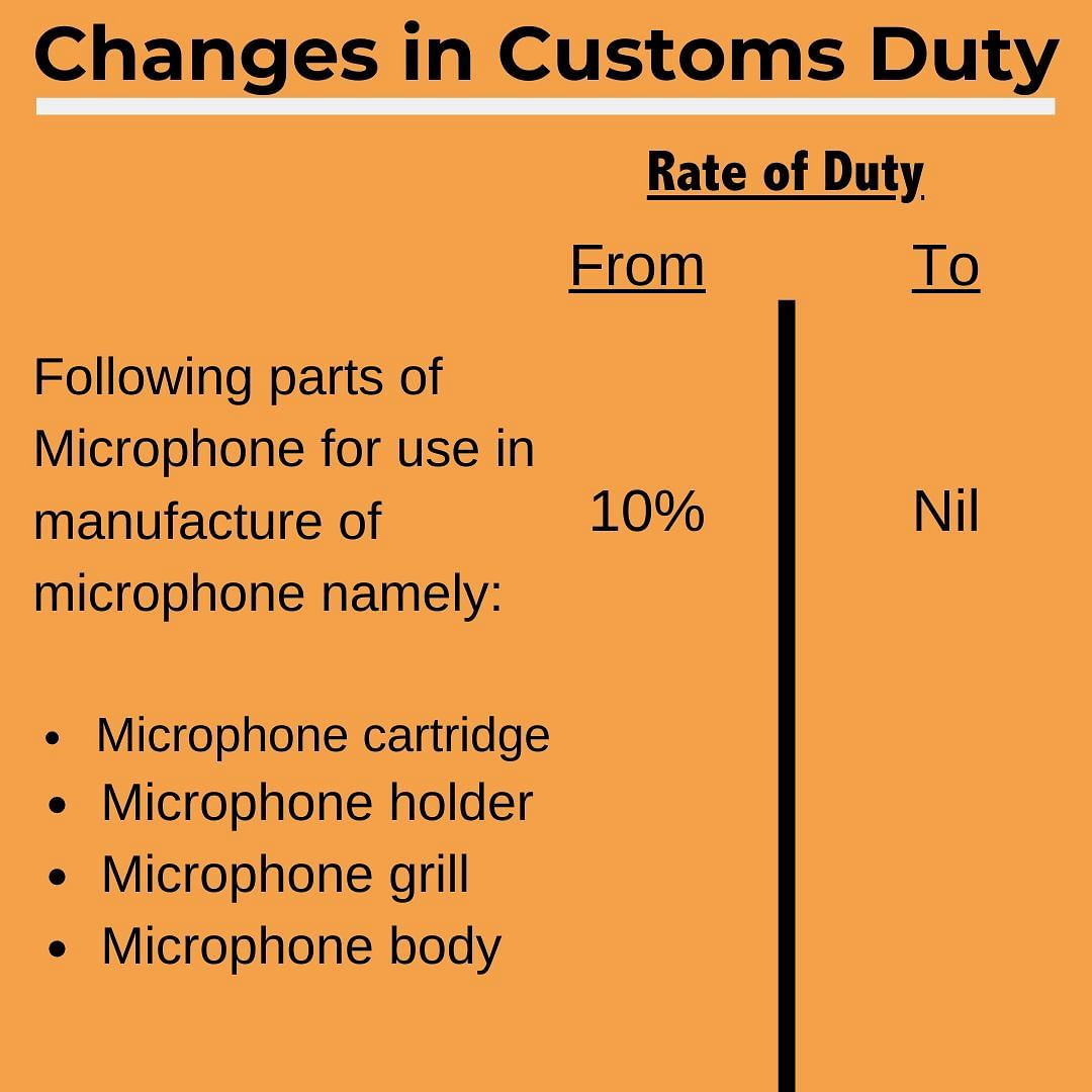 Duty on some electronic components reduced.