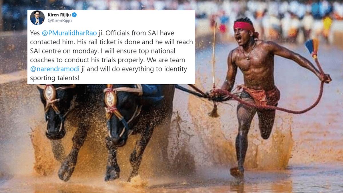 Kiren Rijiju Invites Kambala Jockey Srinivasa Gowda for Trials