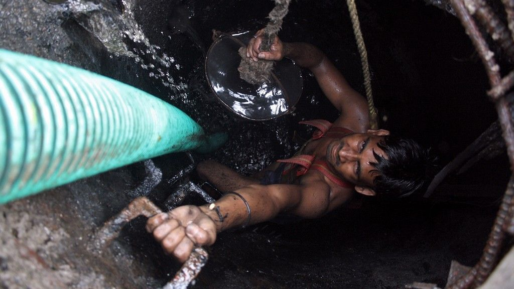Manual scavenging is prohibited by law in India, but continues in many parts.
