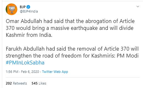 PM Modi, Omar Never Said Revoking Art 370 Will Bring 'Earthquake'