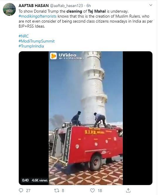 Taj Mahal Being Cleaned Just Before Trump's Visit? No, It's Fake