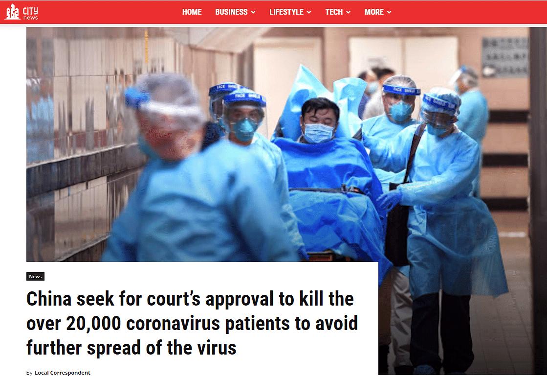 Hoax Website Claims China Planning to Kill Coronavirus Patients