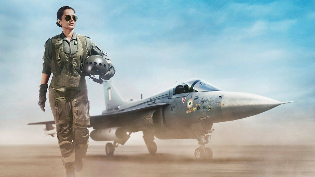 Kangana Ranaut in a poster of her upcoming film<i>Tejas.</i>