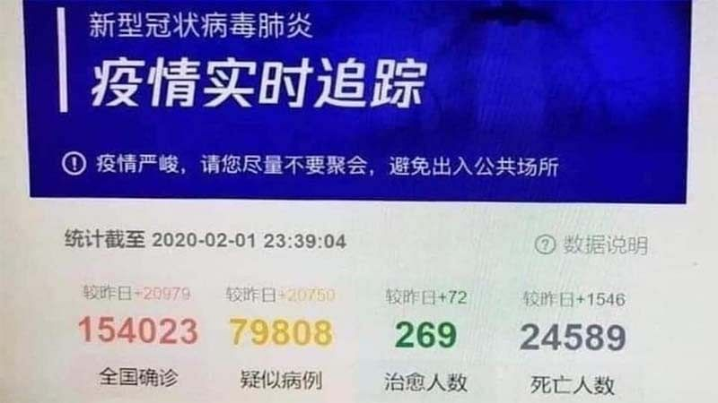 Screenshot of Tencent's tracking tool on 1 February.