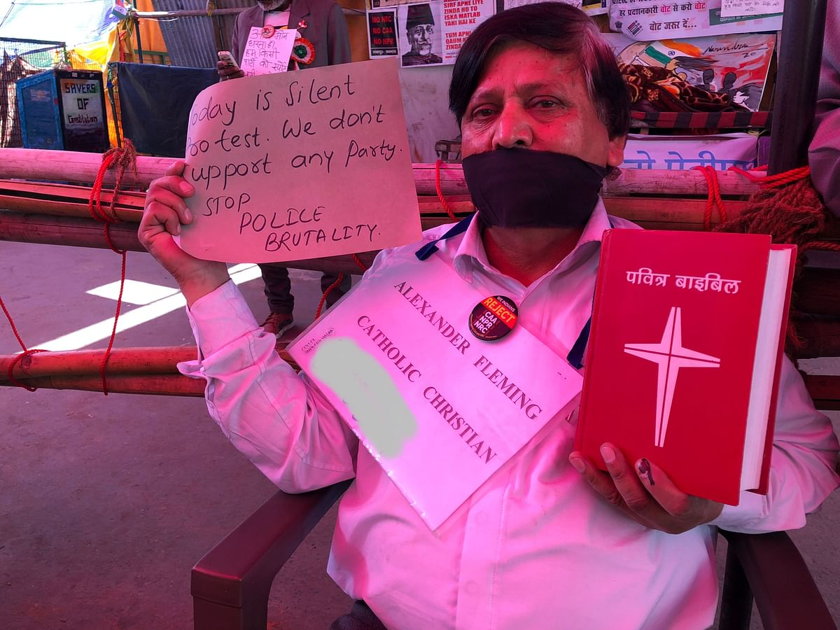 Alexander Fleming, a local Christian from Delhi has been participating in the protest since day one.