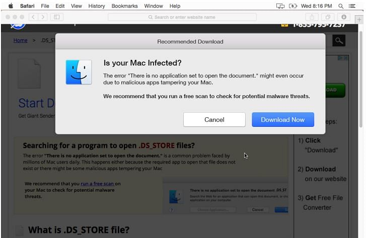 MacOS alerts users if their system is infected.