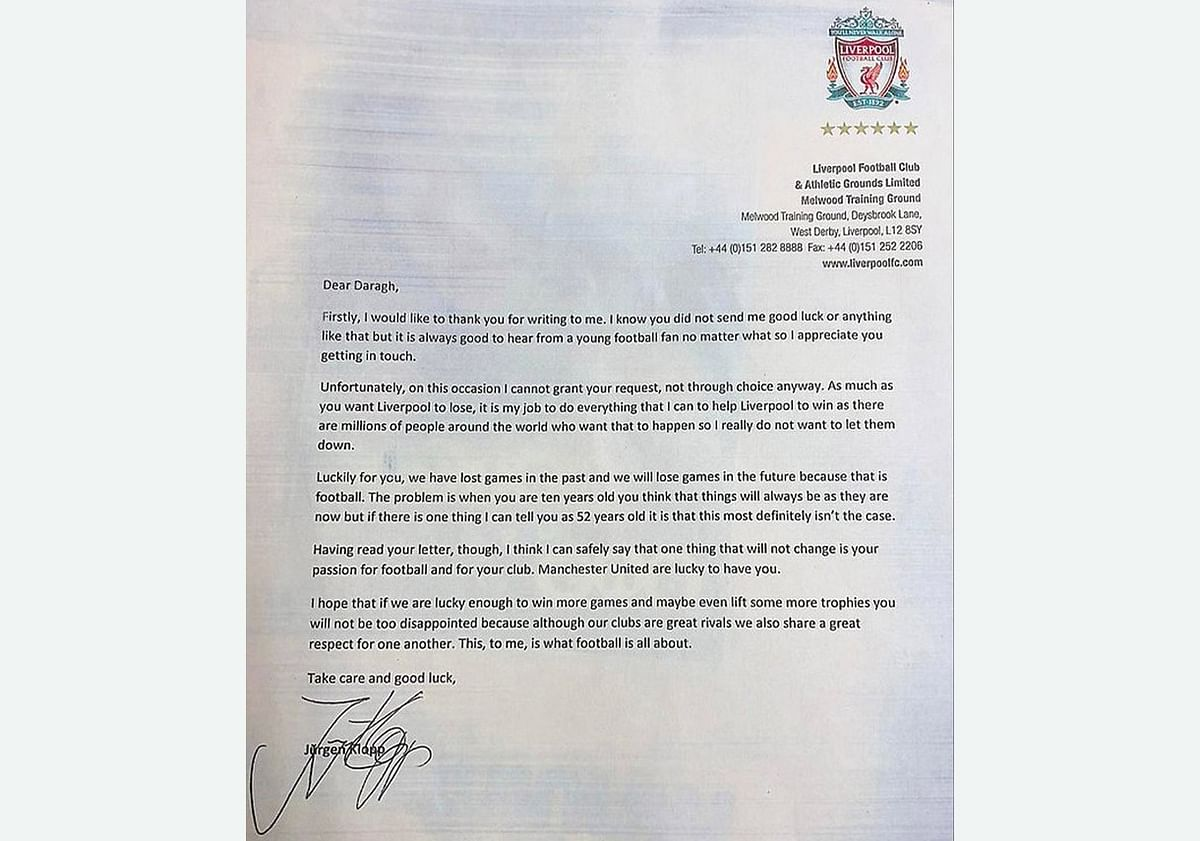 The letter written by Juergen Klopp in response to Daragh's request.