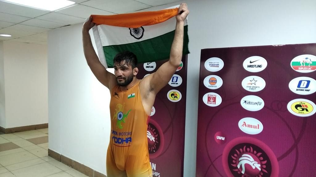 India's Sunil Kumar reached the final of the 87kg category with a brilliant come-from-behind victory over Azamat Kustubayev at the Asian Wrestling Championships on Tuesday, 21 February.