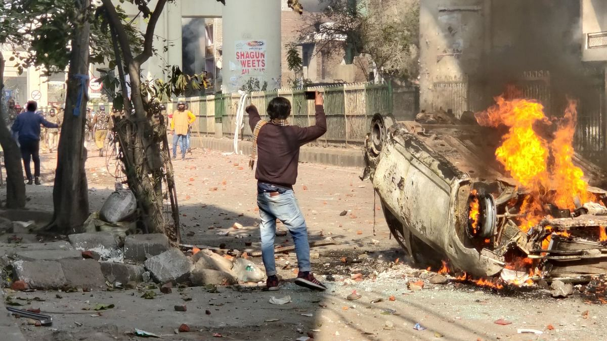 This vehicle was a kind of demarcation between the pro and anti-CAA protesters, during the violence on 24 February, at the Maujpur-Jaffrabad road, in northeast Delhi.