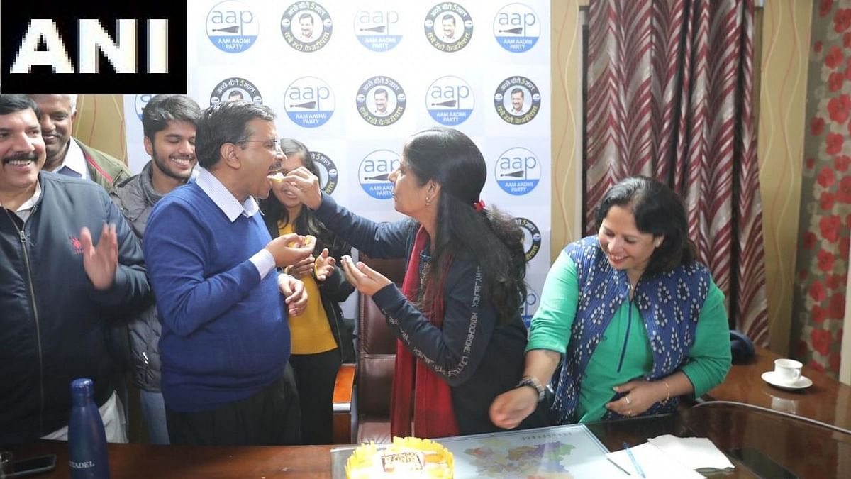 Kejriwal's Double Celebration as AAP Wins Polls on Wife's B'day