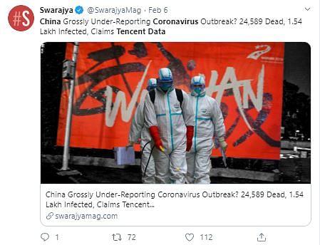 Doctored Screenshots Claim China's Coronavirus Deaths Over 24,000