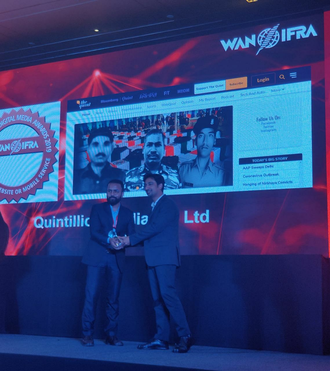 The Quint Wins Silver, Bronze at the WAN-IFRA Awards