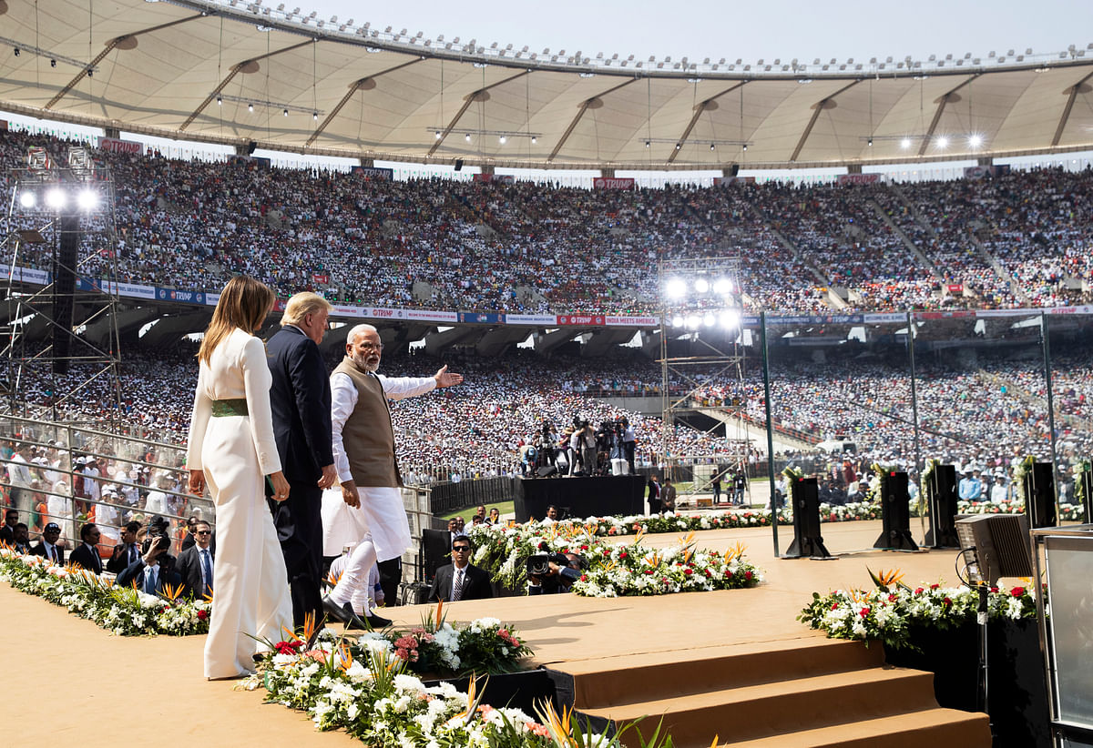 "U.S. President Donald Trump, first lady Melania Trump, and Indian Prime Minister Narendra Modi arrive for a ""Namaste Trump,"" event at Sardar Patel Stadium, Monday, Feb. 24, 2020, in Ahmedabad, India."