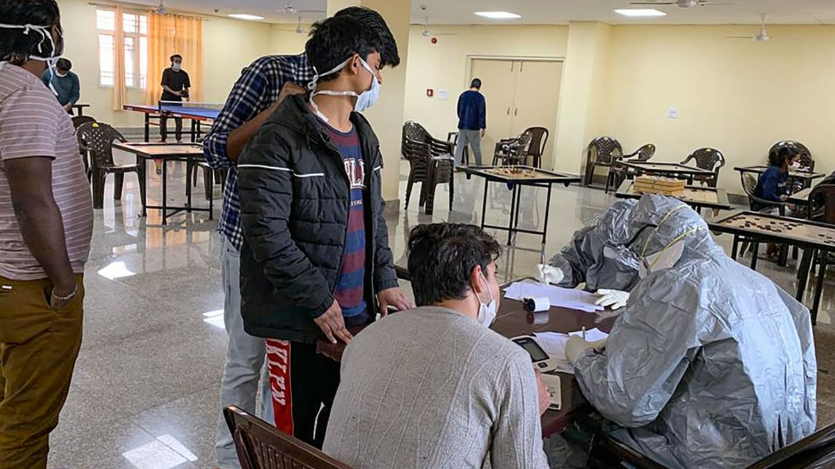 Indian nationals who were airlifted from coronavirus-hit Hubei province of Chinas Wuhan, undergo screening at a quarantine facility set by up ITBP. Image for representation.