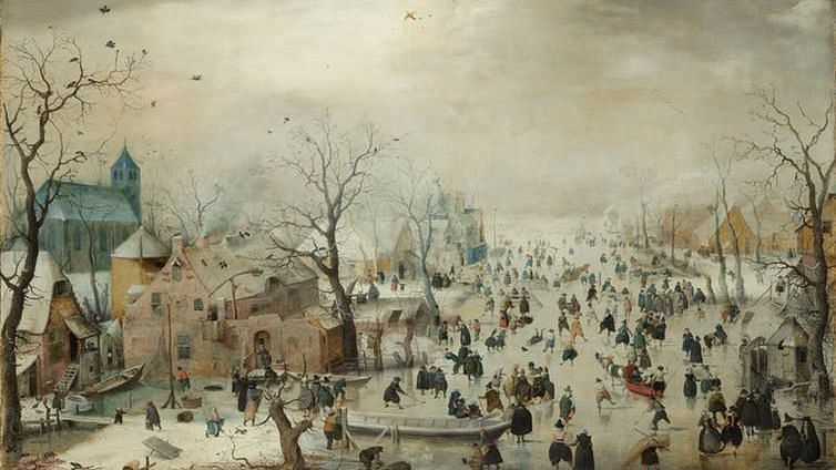 Winter Landscape with Skaters, c. 1608.