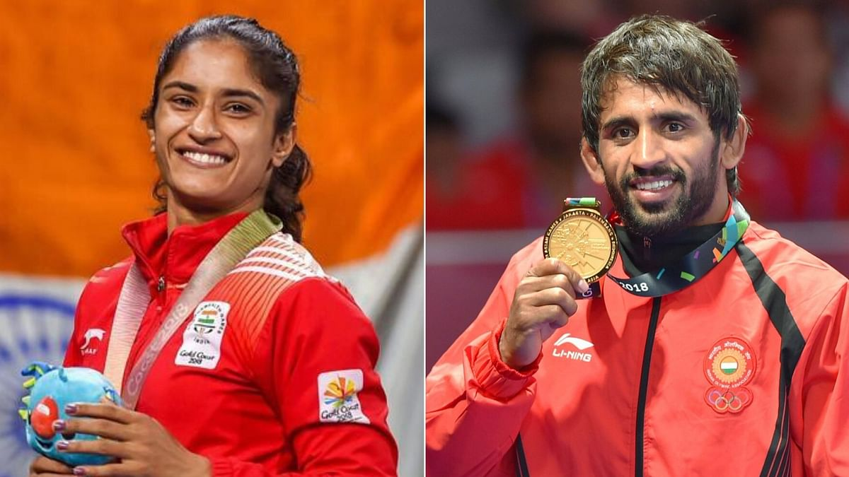 Both Vinesh Phogat (left) and Bajrang Punia have returned to the top spot in the world rankings in their respective categories.