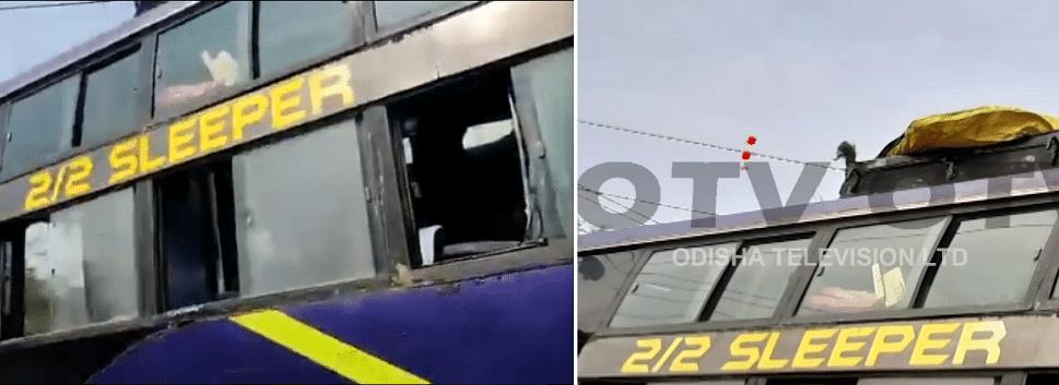 Left: Video uploaded on Twitter. Right: Odisha TV bulletin.