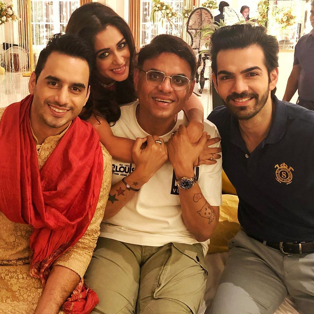 Sandiip Sikcand with Dipika Kakar and Karan V Grover on the sets of <i>KHKT</i>.