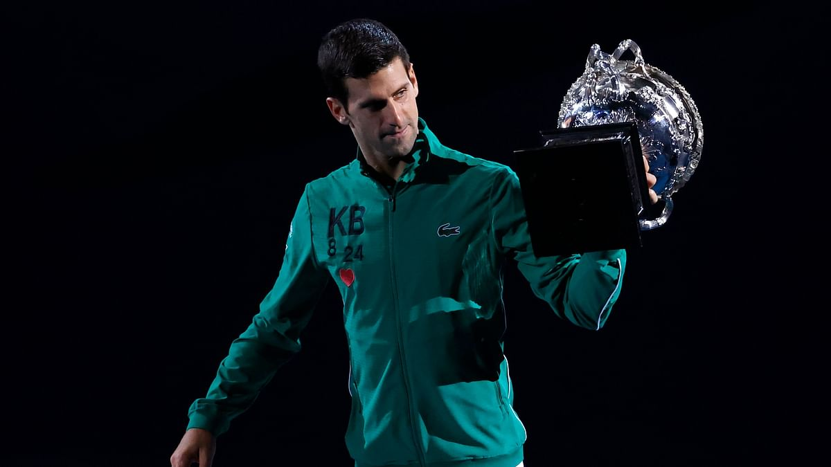 In his speech after being presented with the trophy, Djokovic spoke about the bushfires that ravaged Australia at the turn of the year and Bryant's death.