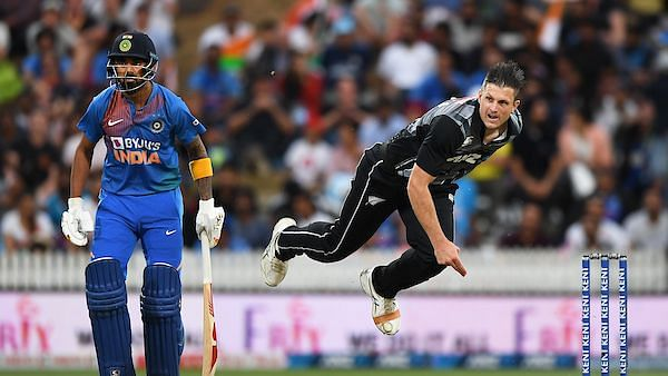 Either Hamish Bennett (above) or Scott Kuggeleijn could have bowled the Super Over against India in Hamilton.