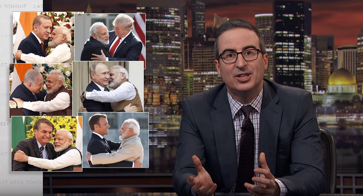 "John Oliver referred to PM Narendra Modi as ""an aggressive hugger""."