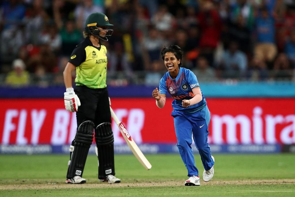 Poonam Yadav took 4/19 to help India complete a 17-run victory against defending champions Australia on Friday.