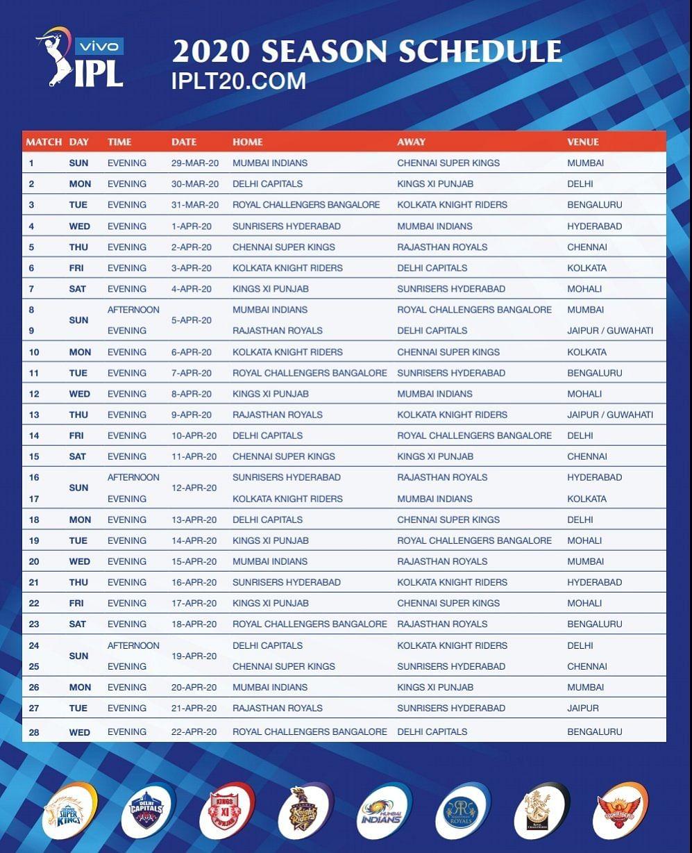 IPL 2020 Full Schedule Released: Mumbai vs CSK in 29 March Opener