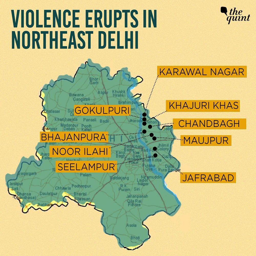 Places in Delhi where violence took place on Monday 24 February (locations may not be exact).